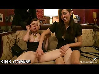 Hot pretty girl cums and cries in threesome BDSM sex