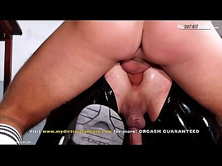 Rubber twink slave pissed on, fucked and bred. Then milked by hot dom! With sex..