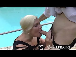 Granny with brutal melons wanted to ride the pool guy for long