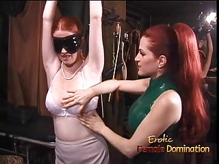 Latex-clad redhead wench has her way with a freckled ginger hussy