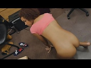 Black Pawned Beauty Layed Out Titty Flapping On Desk