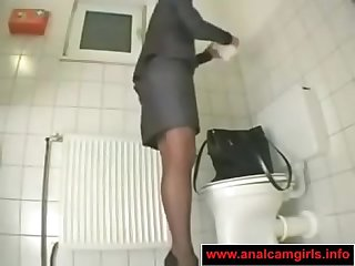 Office girl masturbation in the toilet
