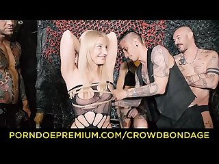 CROWD BONDAGE - First time domination fuck for blondie Angela Vidal