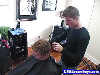 Gay hairdresser fucking his jock customer