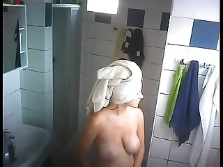 Big Hangers Getting Out Of Shower Spy Cam Video
