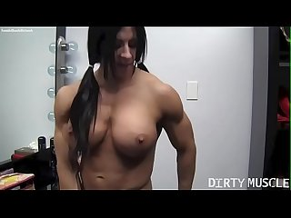 Naked Female Bodybuilder Angela Salvagno Rides A Huge Dildo