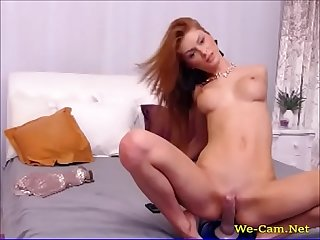 Horny model camgirl riding dildo in webcam