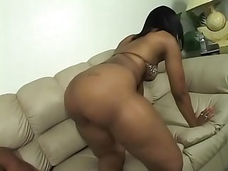 Bubble butt ebony babe Cherokee gets her tight cunt banged hard by a huge black pole