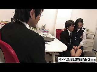 The new office intern gets initiated with a blowbang