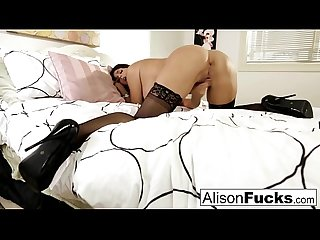 Big tittie Alison teases then makes herself cum on the bed
